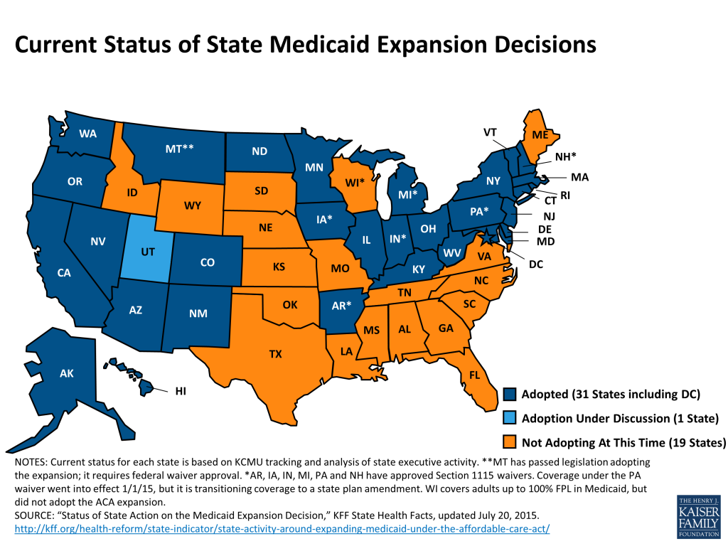 KFF_medicaid-expansion-status_July-2015