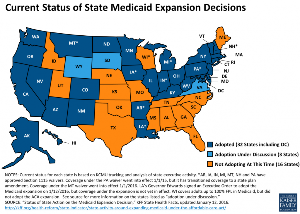 KFF_Medicaid-Expansion-status-2016-01