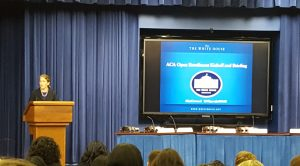 HHS Secretary Sylvia Mathews Burwell speaking at White House ACA Kickoff Event