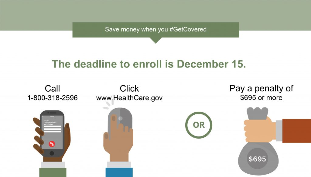 Graphic saying deadline to enroll is December 15 & you can call or go on-line or pay the $695+ penalty