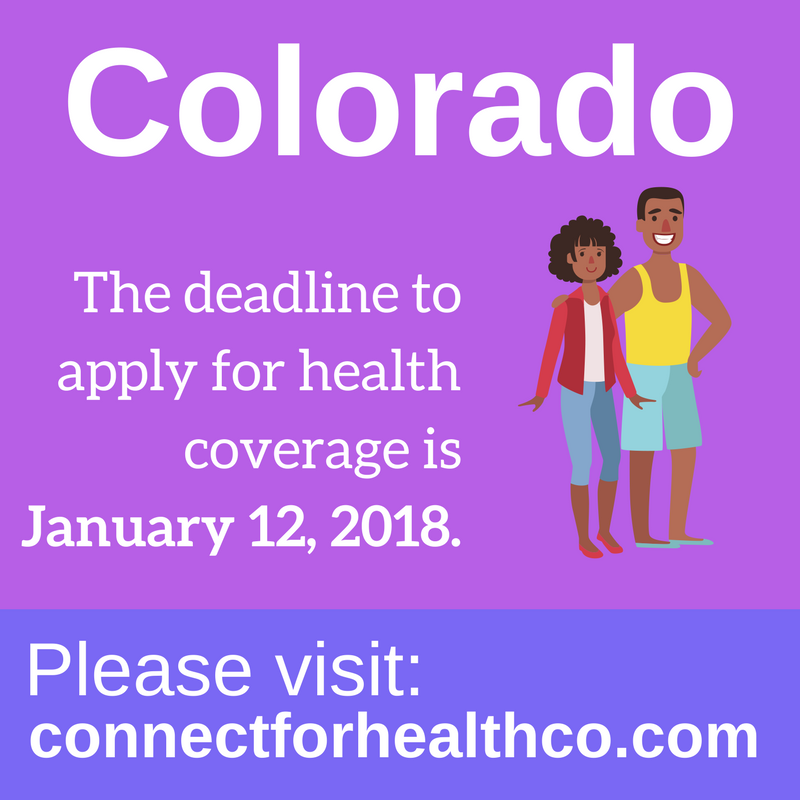Graphic saying deadline to enroll in Colorado is January 12