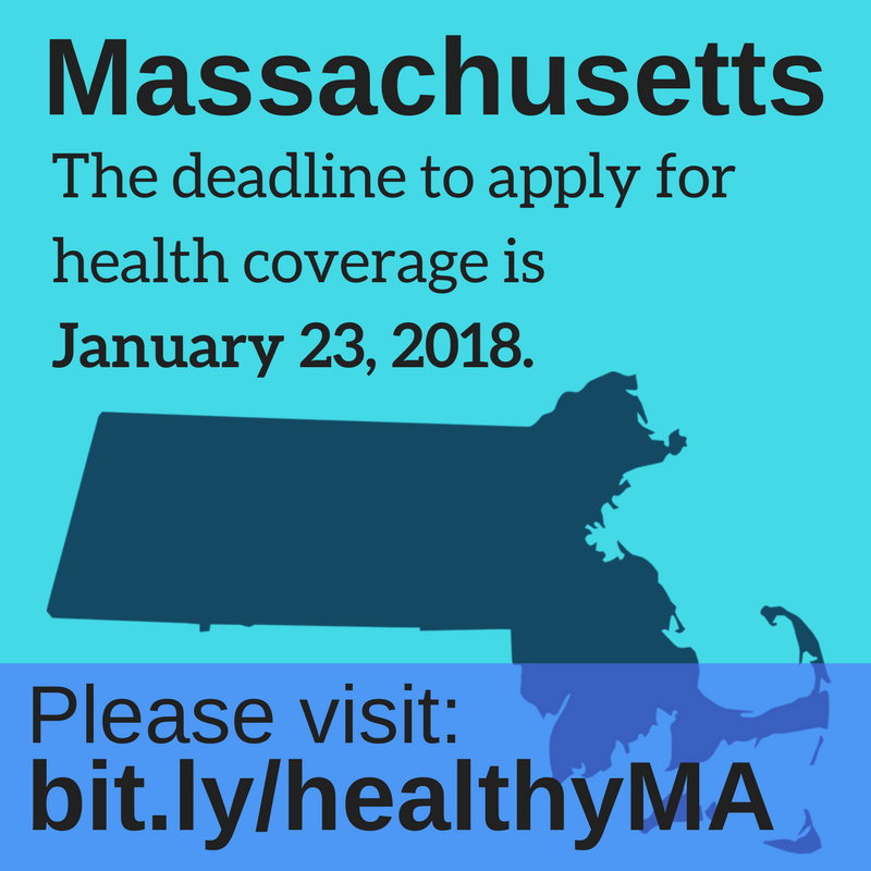 Graphic saying deadline to enroll in Massachusetts is January 23