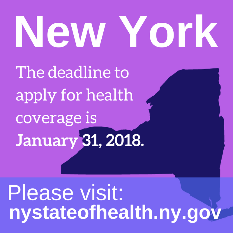 Graphic saying deadline to enroll in New York is January 31