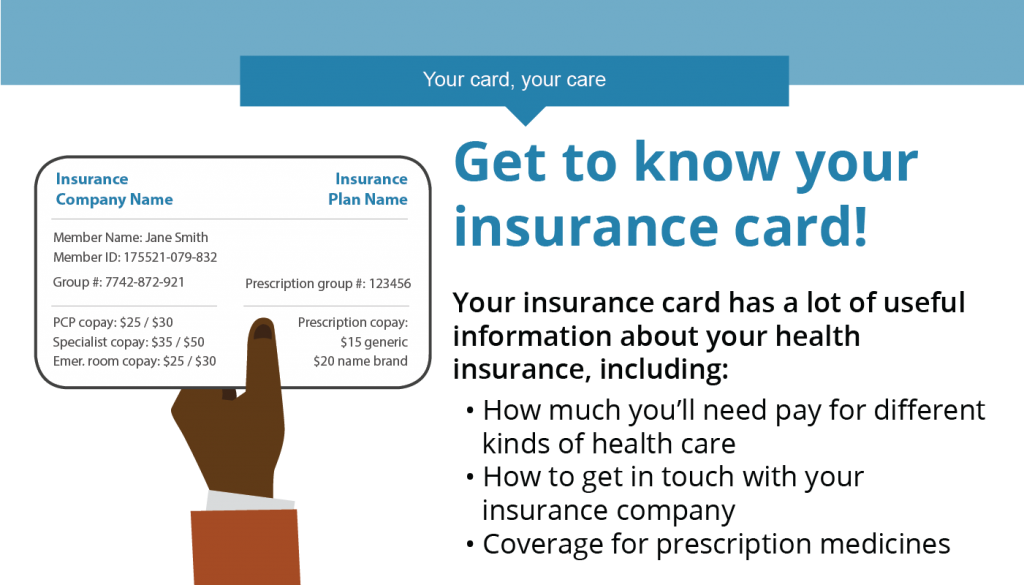 Graphic highlighting important info on a health insurance card