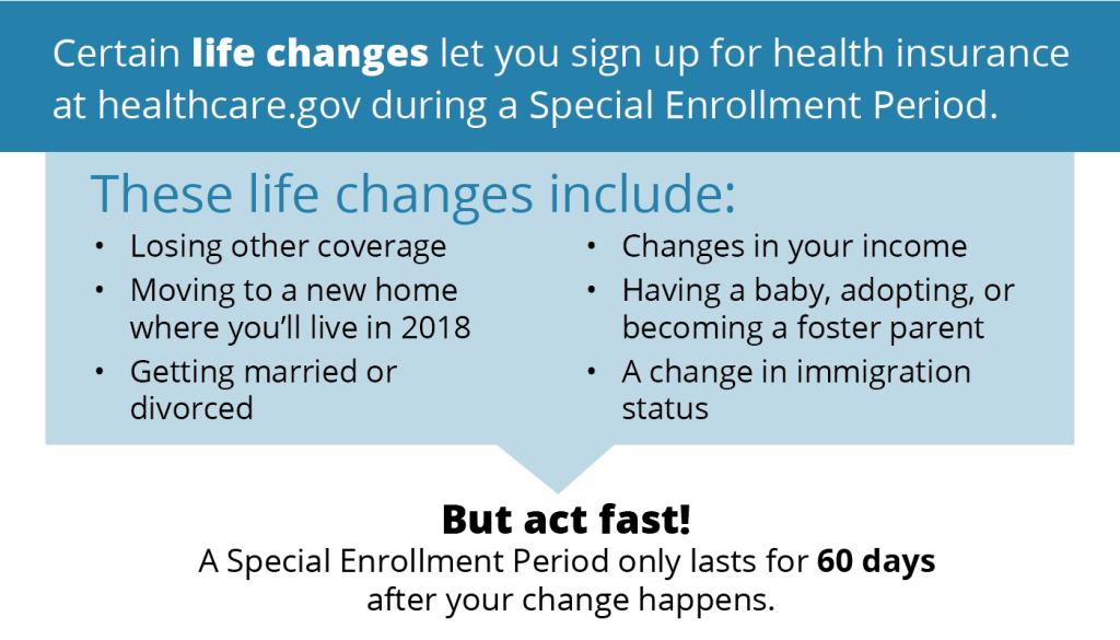 Graphic highlighting life events which could lead to a special enrollment period