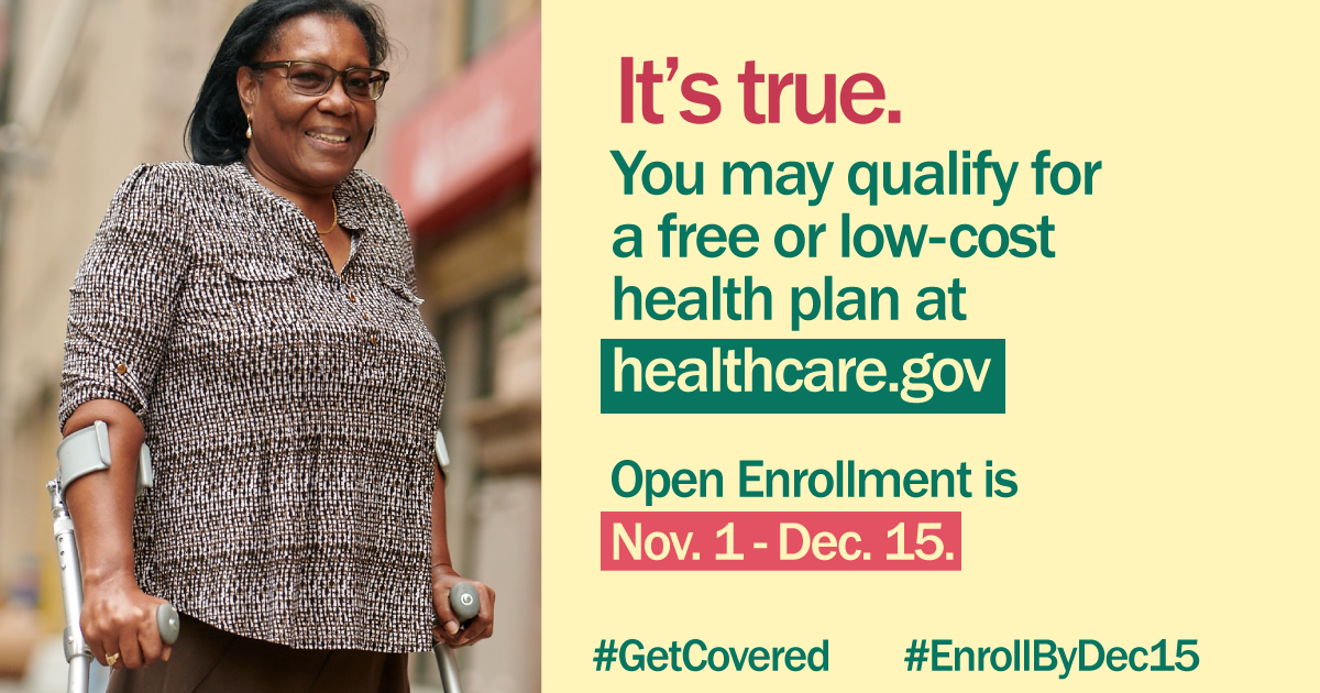 image of African-American woman using crutches with message that you may qualify for free or low-cost health insurance through healthcare.gov