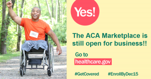 Picture of male leg amputee in wheelchair with message that ACA marketplace is still open for business