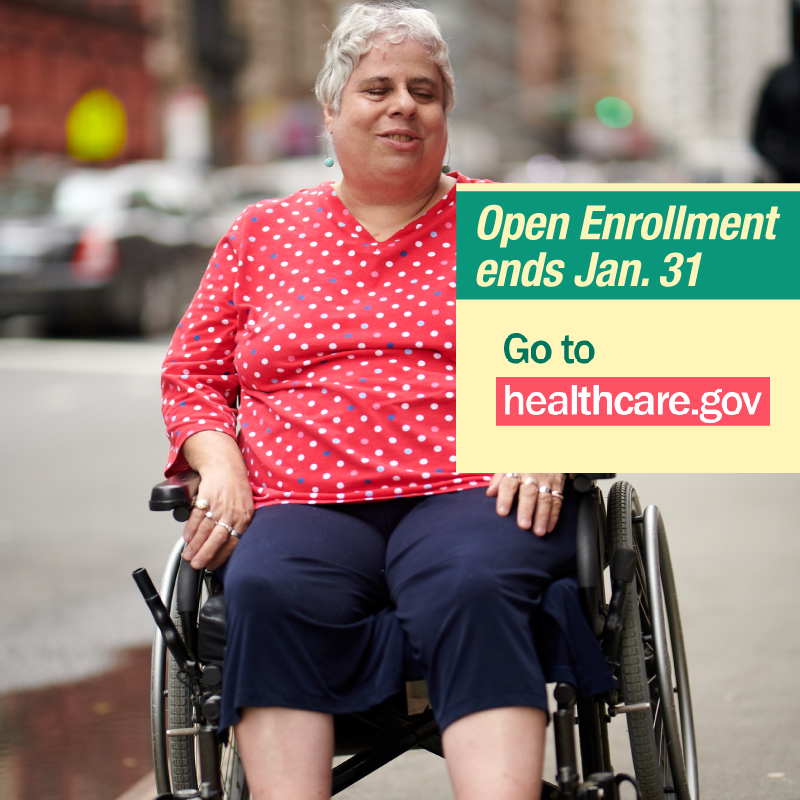 Woman sitting in wheelchair with message open enrollment ends 1/31 in NY