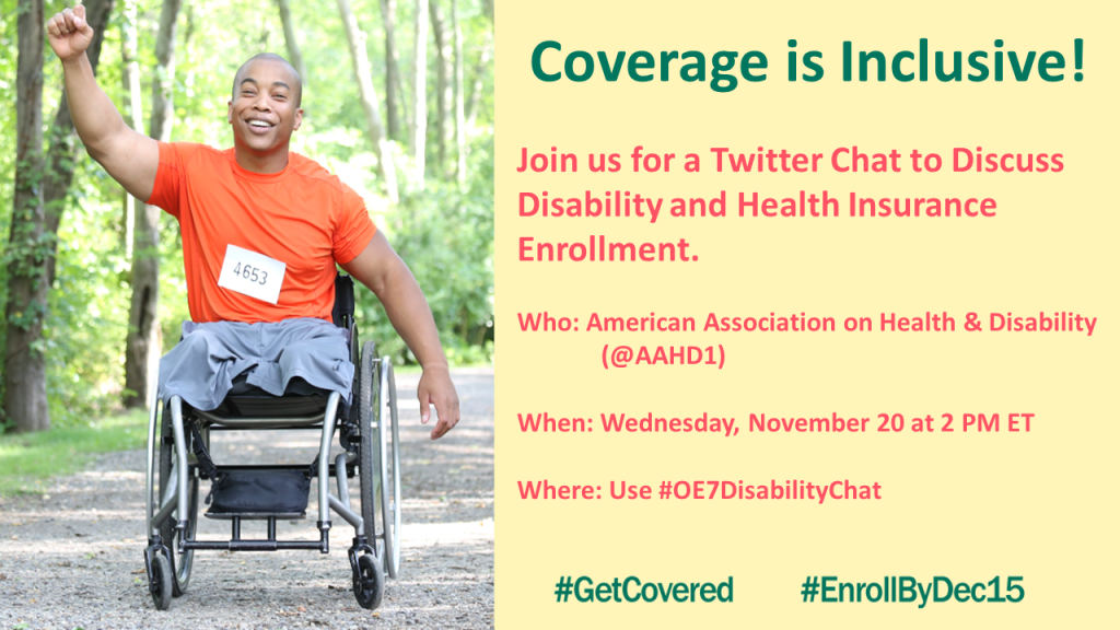 Picture of male leg amputee in wheelchair with message about our Twitter chat on 11/20 at 2 PM ET