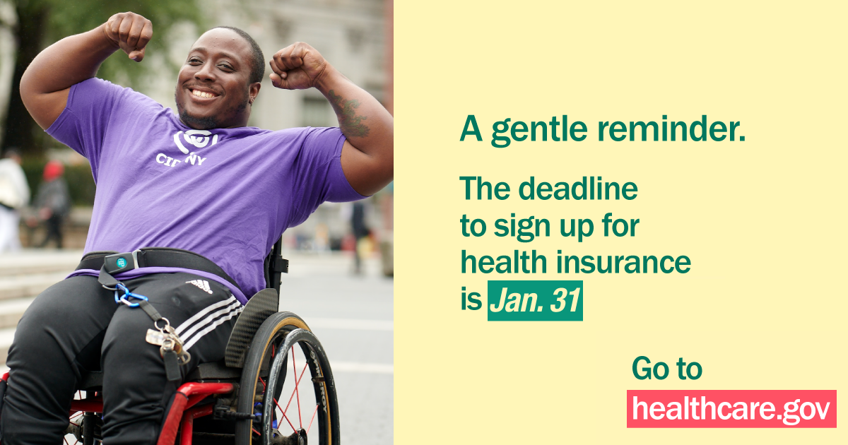 Image of younger African American man in a wheelchair with arms flexed and message open enrollment ends 1/31