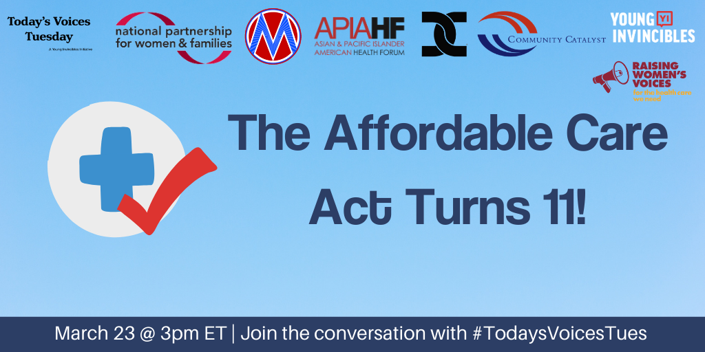 Graphic image with message that the Affordable Care Act turns 11 along with information about twitter chat on 3/23